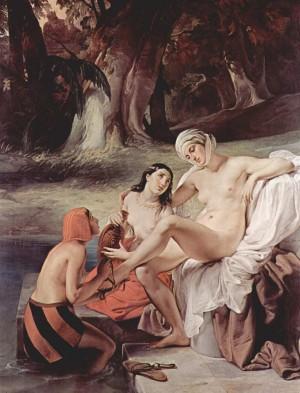 David espía a Betsabé durante su baño. Lienzo de Francesco Hayez (1859). Pinacoteca de Brera, Milán (Italia).
