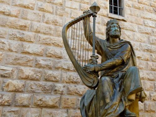 Escultura contemporánea del rey David en Monte Sión, Jerusalén (Israel).