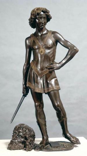 David, triunfante sobre Goliat. Escultura de bronce obra de Andrea Verrocchio (ca. 1472-1475). Museo del Bargello, Florencia (Italia).