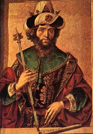 El rey David, en una tabla gótica de Pedro de Berruguete (s.XV).