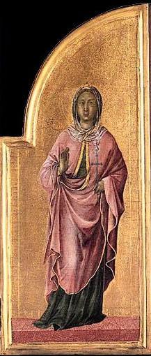 Detalle de la Santa en un tríptico de Duccio di Buoninsegna, (ca. 1315). National Gallery, Londres (Inglaterra).