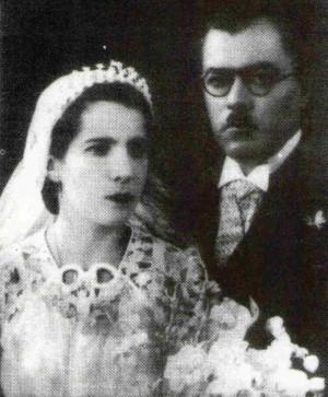 Fotografía de los Siervos de Dios Eugenio Balmori y Marina Cinta el día de su boda.