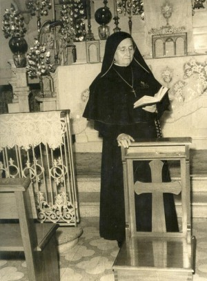 La Santa, fotografiada en la antigua capilla del hospital.