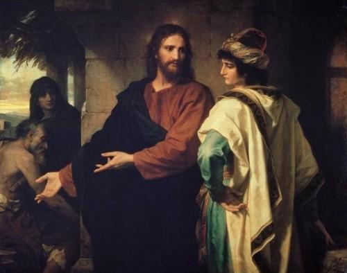 """""""Cristo y el joven rico"""", óleo de Heinrich Hoffmann (1889). Riverside Church, Nueva York (EEUU)."""