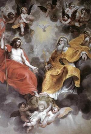 """""""La Santísima Trinidad"""", óleo barroco de Hendrick Van Balen el Viejo, siglo XVII."""