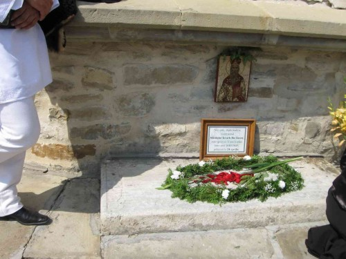 Vista del sepulcro de San Ilia Iorest, obispo de Transilvania, en Putna (Rumanía).