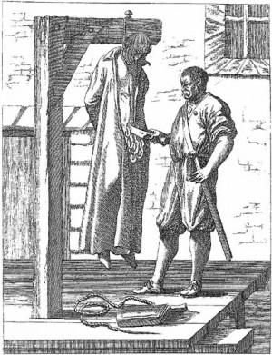 Martirio de San John Ogilvie, jesuita. Ejemplo de ahorcamiento y evisceración.