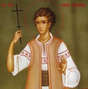 Icono ortodoxo rumano del Santo con el atuendo propio de Valaquia.