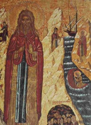 Detalle de un icono ortodoxo de San Juan Xenos, donde se le ve cruzando las aguas sobre su manto.