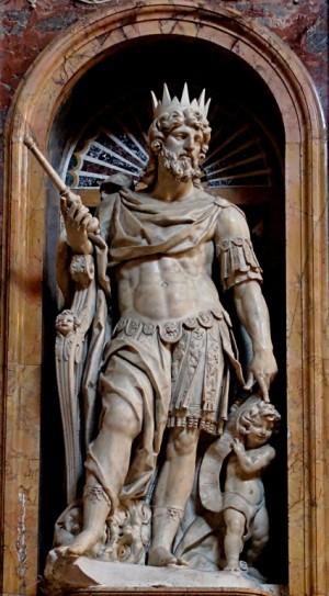 Escultura del Santo, obra de Paris Nogari (ca. 1536-1601). Capilla Borghese, Basílica de Santa María la Mayor, Roma (Italia).
