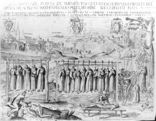 Ejecución de los mártires de Gorkum, Holanda. Grabado español de 1580. Fuente: Bridgeman Art Library, colección privada.