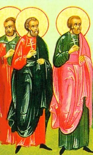 Detalle de los Santos Quintiliano Máximo y Dada en un calendario eslavo.