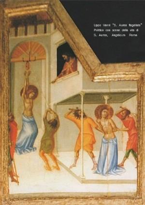 Martirio de la Santa. Detalle del tríptico gótico de Lippo Vanni. Convento de los Santos Domingo y Sixto, Roma (Italia).