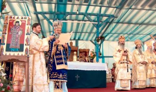 Ceremonia de canonización del Santo en 2007, presidida por su icono más popular.