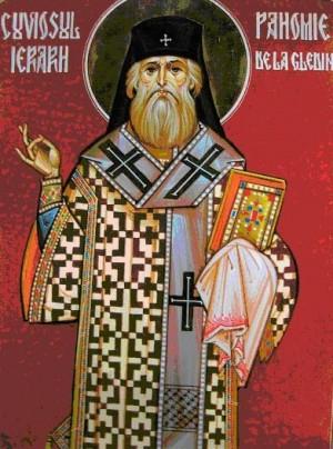 Icono ortodoxo rumano del Santo en su atuendo de jerarca.