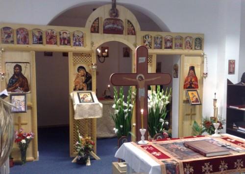 Vista del iconostasio de la Iglesia Ortodoxa Rumana de San Pacomio de Villaverde, Madrid (España).