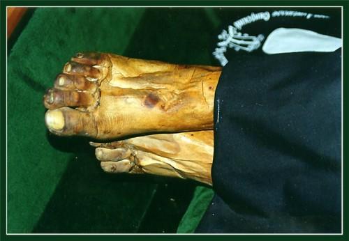 Detalle de los pies incorruptos del Santo.