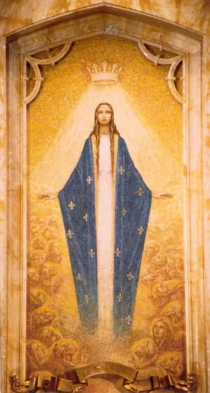 """""""Nuestra Señora, Reina de Todos los Santos"""". Mosaico contemporáneo  en la iglesia de San José, Springer, Nuevo México (EEUU)."""