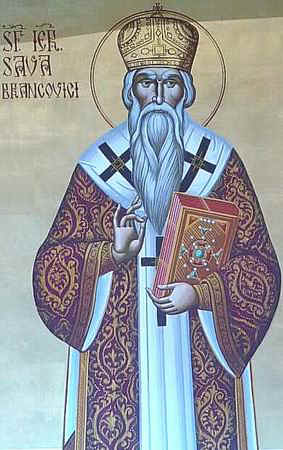 Icono ortodoxo rumano de San Sabas Brancovici, obispo de Transilvania.