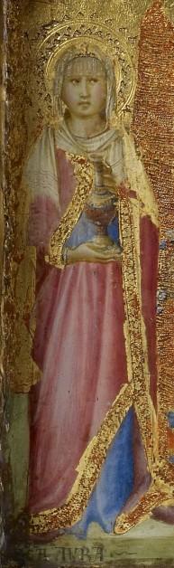Detalle de la Santa en un tríptico de Lippo Vanni. The Walters Art Museum, Baltimore (EEUU).