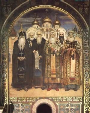 Fresco ortodoxo ucraniano representando a Santos jerarcas ortodoxos. Catedral de Volodmyrys, Ucrania,