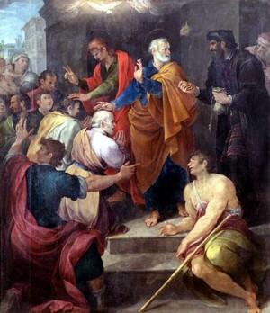 Simón el Mago tratando de comprar el don del Espíritu Santo. Óleo de Avanzino Nucci, 1620.