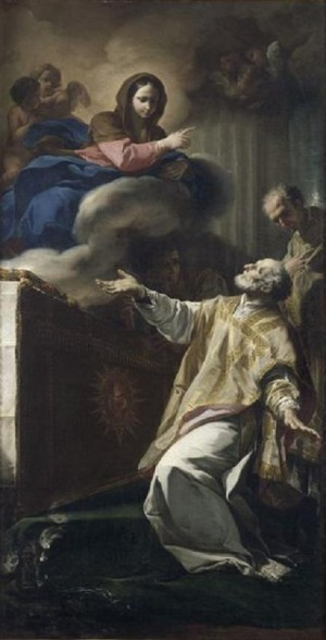 La Virgen se aparece al Santo. Obra de Corrado Giaquinto.