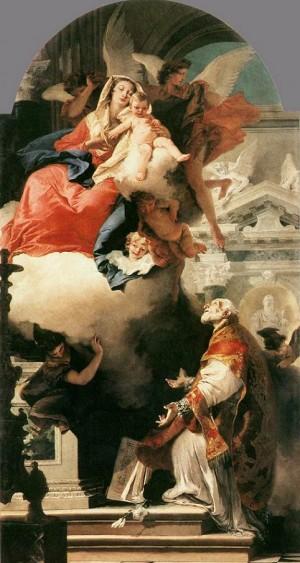 La Virgen se aparece al Santo. Obra de Giambattista Tiepolo.