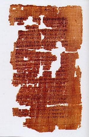 Una página del Códice Tchacos del Evangelio de Judas Iscariote, encontrado en 1970 y datado de mediados del siglo IV DC. El original, de la época de Ireneo de Lyon, está perdido.