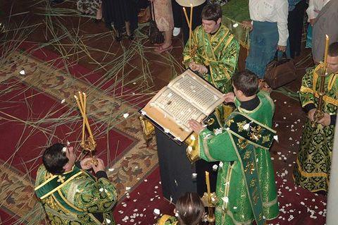 Lectura del evangelio según el rito bizantino.