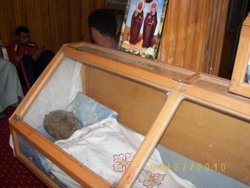 Detalle de una de las urnas. Monasterio de los Mártires, Akhmim (Egipto).