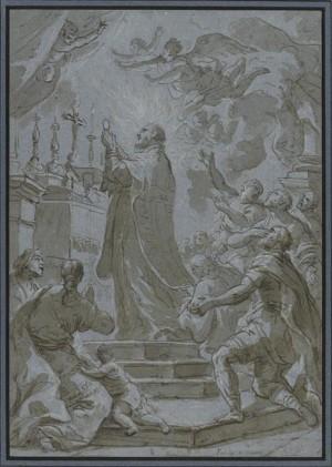 Boceto del Santo celebrando Misa. Obra de Paolo de Mattheis (s. XVII).