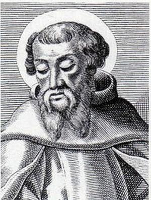 """Detalle del rostro de San Ireneo, obispo de Lyon y padre apostólico posterior a San Policarpo, en un grabado. Autor del libro """"Tratado contra las herejías""""."""
