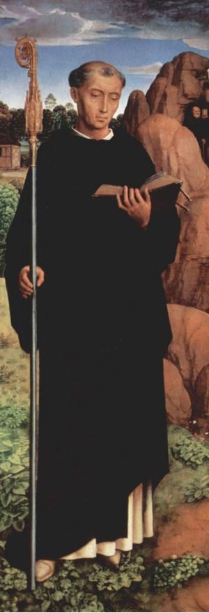 San Mauro, detalle del tríptico de Willem Moreel: San Cristóbal con San Mauro de y San Egidio.