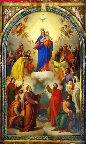 Lienzo de María Auxiliadora con los apóstoles que preside el altar mayor en su Basílica de Turín, Italia. Obra de Tommaso Lorenzone.