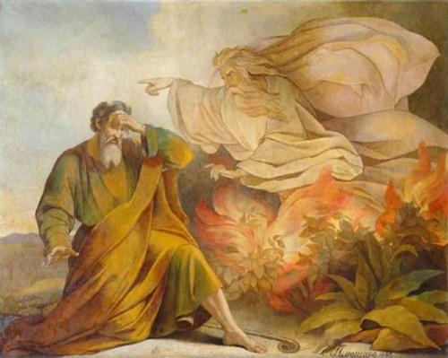 """Dios se aparece a Moisés en la zarza ardiente"", óleo de Eugène Pluchart (1848). Catedral de San Isaac, San Petersburgo (Rusia)."