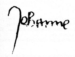 """""""Firma"""" de la Santa en su proceso de abjuración, en su versión original: JEHANNE (Juana)."""