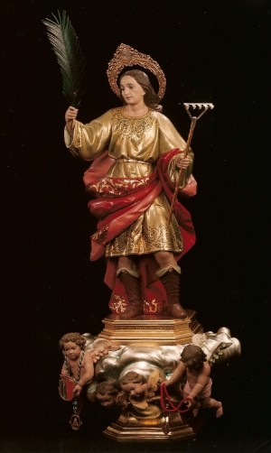 Vista de la imagen procesional de San Bonifacio, mártir de Tarso, venerada en Carcaixent, Valencia (España).
