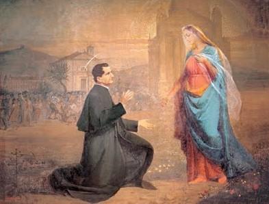 La Virgen indica a San Juan Bosco dónde quiere que se construya su Basílica. Lienzo contemporáneo.