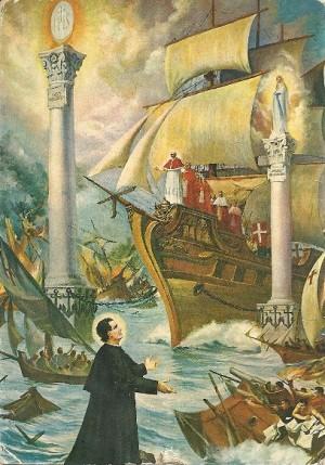 El sueño de las dos columnas experimentado por San Juan Bosco en relación a María Auxiliadora.