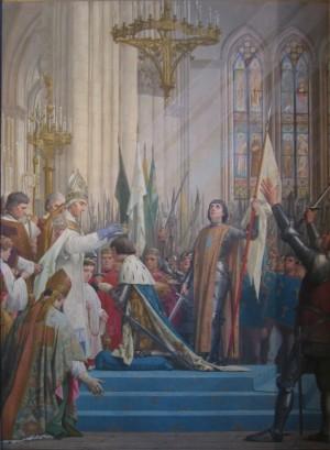 Coronación del rey Carlos VII en Reims. Óleo historicista de Jules Eugène Lenepveu (1889). Panteón de París, Francia.