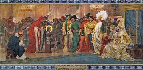 Juana de Arco reconoce al Delfín, quien se había camuflado entre los cortesanos para probar que era enviada de Dios. Pintura historicista del siglo XIX.