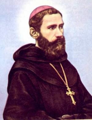 Estampa devocional de Santo, elaborada a partir de una fotografía coloreada.