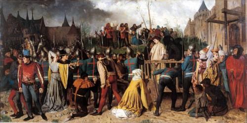 Juana de Arco, condenada a muerte y transportada en carro a su pira en Rouen.