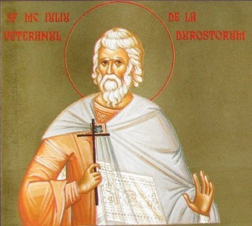 Icono ortodoxo rumano de San Julio el Veterano, mártir de Escitia Menor.