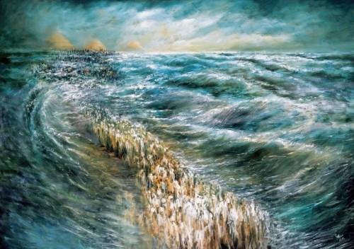 El paso del Mar Rojo. Lienzo contemporáneo obra de la Dr. Lidia Kozenitzky.