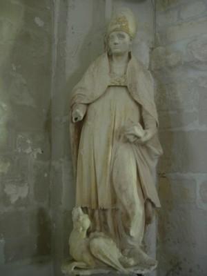 Escultura de San Lupo, obispo de Troyes (s.XV) en la iglesia de Estissac, Francia.