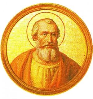 Medallón neoclásico de San Marcos, papa de Roma. Galería de Papas en la Basílica de San Pablo Extramuros, Roma (Italia).