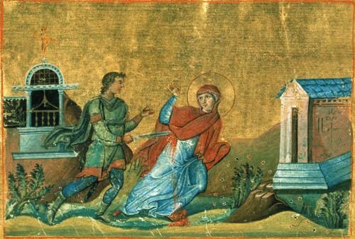 Martirio de la Santa. Iluminación del Menologio de Basilio II (s.X). Biblioteca Apostólica Vaticana, Roma (Italia).