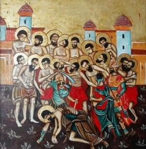 Detalle del martirio de los Santos en un icono.